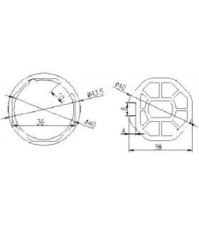 Adaptador AT00 Octogonal diam.38 para MT35