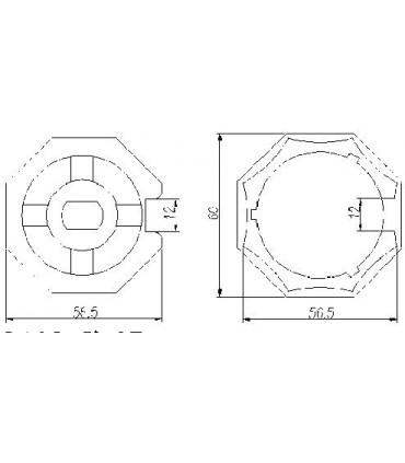 Adaptador AT13 Octogonal diam.57 para MT45