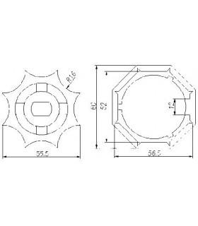 Adaptador AT14 Octogonal diam.57E para MT45 (estrella)