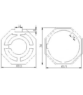 Adaptador AT31 Octogonal diam.70 para MT59