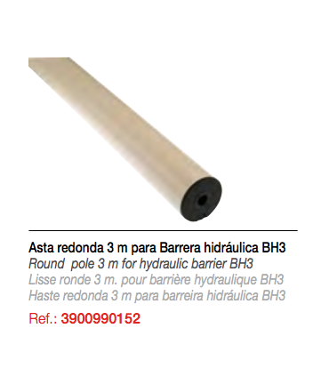 Asta redonda 3 mts. Barrera hidráulica BH3