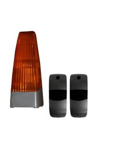 Fotocélula 15mts. Emisor-receptor + Lámpara destellos 230V.